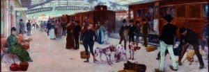 Bilbao en la pintura-Guiard cazadores en la estacion del norte