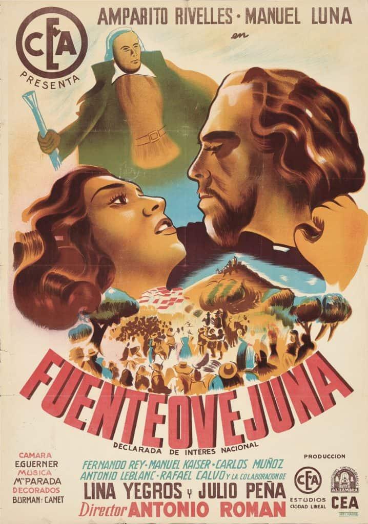 Adaptaciones cinematográficas-Cartel para fuenteovejuna (antonio román, 1947)